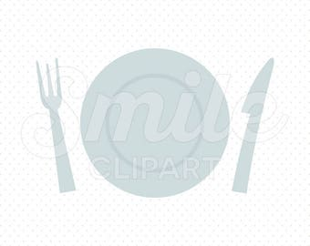 DINNER TABLE SETTING Clipart Illustration for Commercial Use | 0112