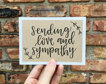 Set of 5 Hand Lettered Sympathy Cards - Handmade Rustic Calligraphy Cards