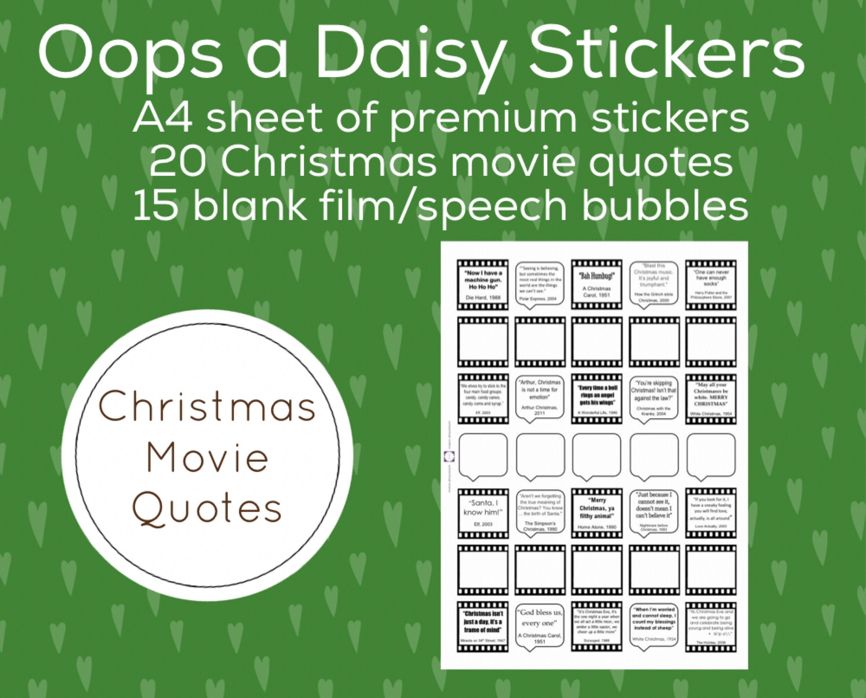 Christmas Quotes And Sayings Glitter Sticker Decal: Oops A Daisy Christmas Movie Quotes Stickers For