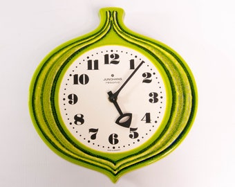 Ceramic wall clock, kitchen clock, kitchen hanging clock, green wall clock, Junghans wall clock, european wall clock, unique wall clock