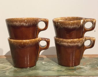Hull Pottery Brown Drip Mugs Heavy Coffee Mug Set Oven Proof Made in USA