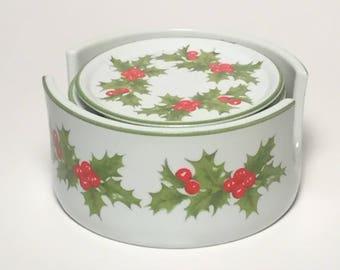 Vintage Christmas Coasters, Christmas Holly Coasters, Porcelain Coaster Set