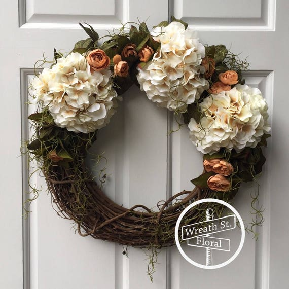 Hydrangea Wreath, Ivory Wreath, Grapevine Wreath, Wreath Street Floral, Everyday Wreath, Front Door Wreath, All Season Wreath, Door Wreath