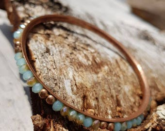 Pretty Thing Vintage German  Copper Bangle Bracelet with Inset Beads Gift for Her Shipping Included