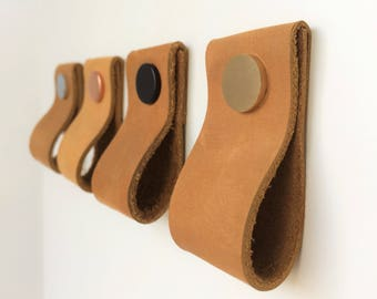 Beautiful Leather Pulls / Leather Handles / Leather Cabinet Hardware / Leather Drawer  Pulls / Leather Cabinet
