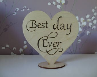 Rustic Wedding Cake Topper, pyrography, handmade, Best Day Ever
