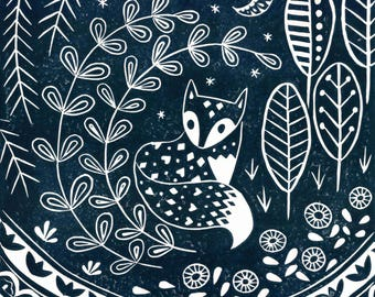 Daniel Fox in midnight blue, limited edition scandi style linocut, woodland animal lover print