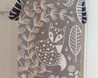 Daniel Fox Tea Towel in grey, Scandi style, animal lover kitchen gift