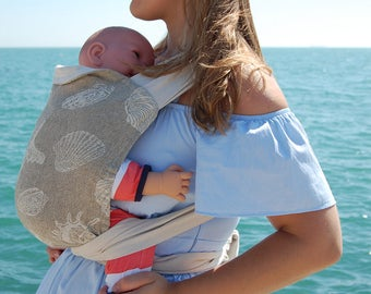 Bei-dai meh-dai adjustable linen cotton baby carrier, Eco friendly soft structure carrier from newborn toddler, Baby shower gift, mei tai
