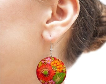 Handpainted wooden earrings with traditional ukrainian Petrykivka painting
