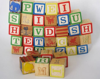 Vintage Wooden Alphabet Blocks, Lot of 38