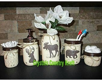 Deer buck,bear, moose bathroom set, Lodge theme bathroom , in a cream and dark brown color mason jar sets