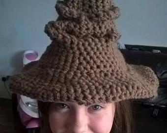 Handmade Crochet Sorting Hat, Harry Potter, Hogwarts