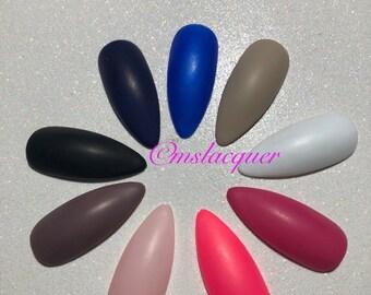 Matte nails, custom nails, coffin nails, press on nails, false nails, long nails