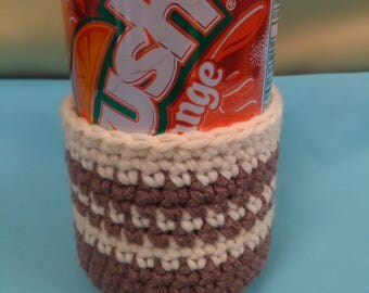 Can sweater, can cozie cozy, brown and cream