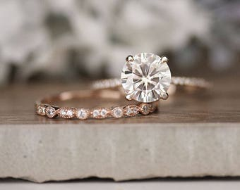 Rose Gold Engagement Ring, Moissanite Round 8mm and Diamond Bridal Ring Set, Forever Classic 1.90cts Moissanite Engagement Ring