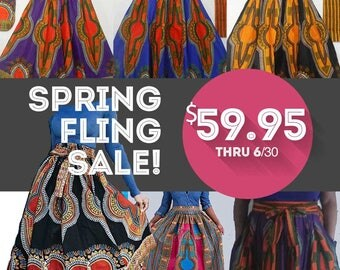 Spring Fling Sale! All Dashiki Swing Skirts - 59.95 / Dashiki Maxi Skirts SALE / Plus Sizes / African Clothing / Just Skirting By