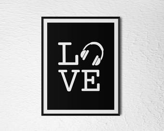 "Headphone Love 2 - Digital Download 8x10"" / 6x8"" / A4 / 11x14"""