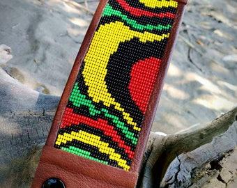 Rastafarian beaded 8 inch cuff bracelet , Rastafarian jewerly, beaded bracelets, Rastafarian cuff bracelet