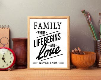 Family Were Life Begins and Love Never Ends,Family Wall Art,Inspirational Art Print, Instant Download