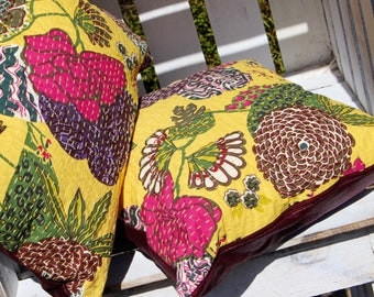 Yellow and Burgundy floral cushions