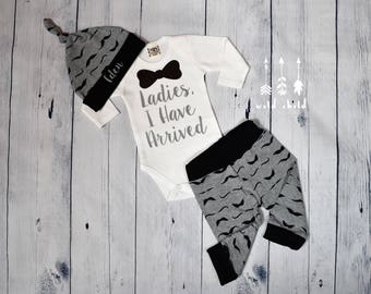 Baby Boy Coming Home Outift Mustache Ladies I Have Arrived Bow Tie Personalized Baby Boys