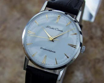 Seiko Crown 1950s Stainless Steel Manual Japanese Collectible Dress Watch Q38