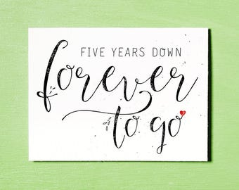 Five Years Anniversary Card, Love Card, Instant Download Printable, Couples Card, Anniversary Love Gift, I Love You Card, Relationship Card