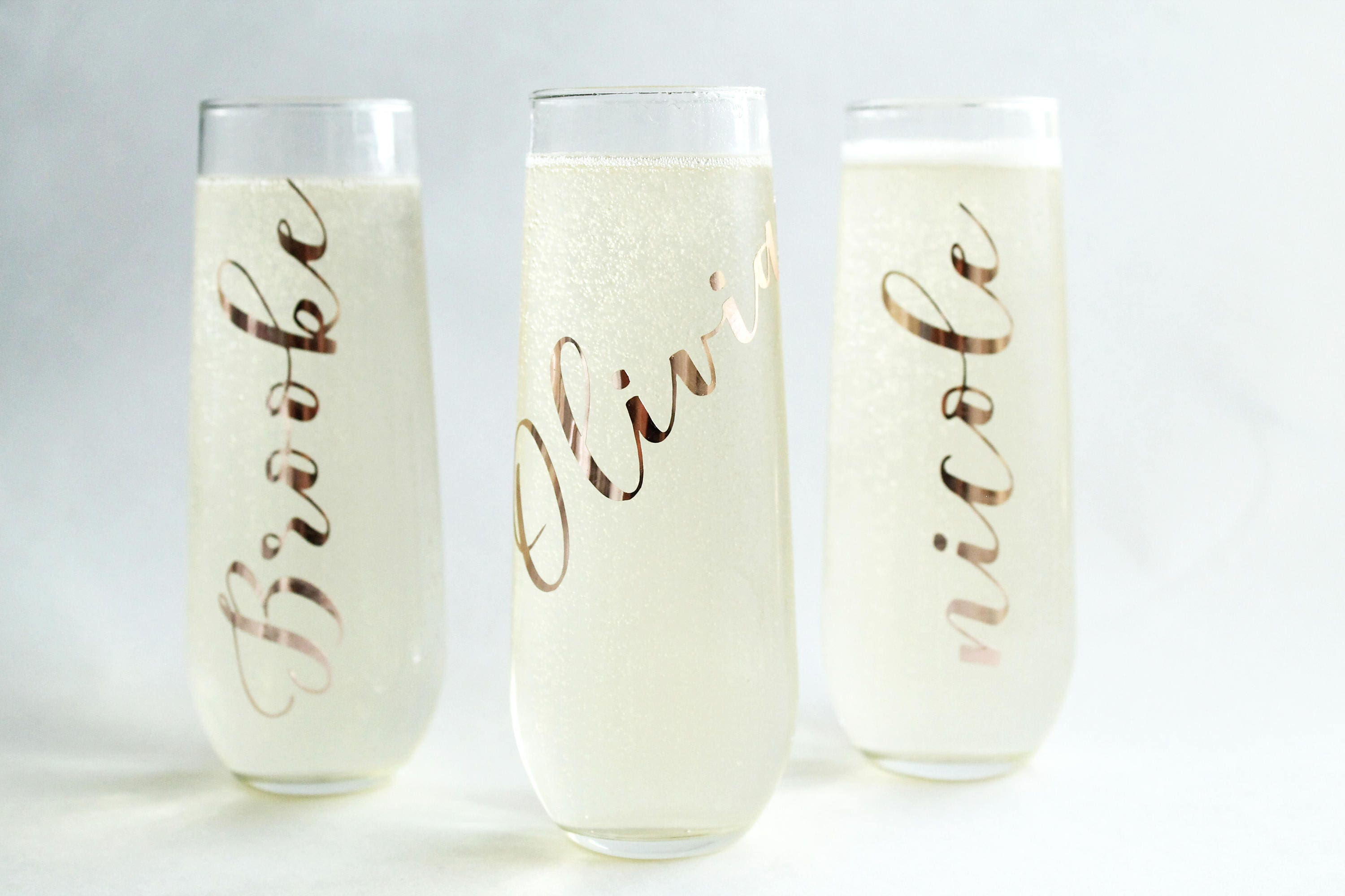 Bridesmaid Champagne Flute Bridesmaid Gift Stemless Champagne