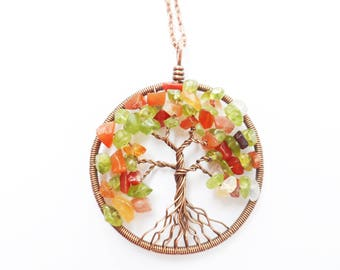Tree-Of-Life Necklace Pendant, Copper Pendant, Wire Tree of life, Wire Wrapped Pendant, Peridot Pendant, Carnelian Pendant, Family Tree