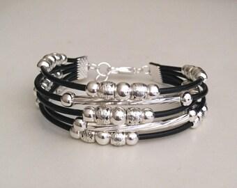 Leather bracelet Women's leather bracelet Bohemian jewelry Boho Beaded bracelet  Fashion jewelry Silver plated