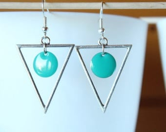 Green sequin and silver triangle earrings