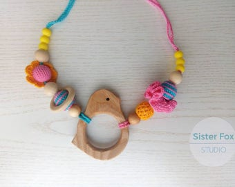 Nursing  necklace Silicone Crocheted teething  Babywearing Breastfeeding Baby shower gift  Wooden beaded necklace with pendant Easter sale