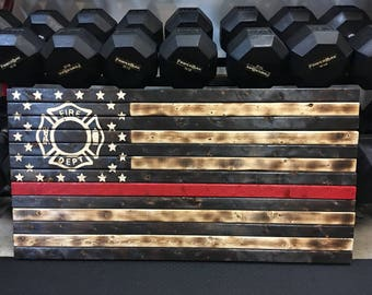 Wooden Red Line Flag, Hand Carved flag, Wood Burned flag, Rustic Flag, Flag Gift, Charred Flag, Firefighter Flag, Wall Decor, Thin Red Line