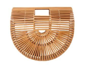 Bamboo Clutch Handbag Natural Tone