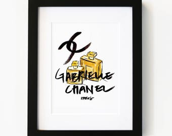 Chanel Perfume, Illustration Art Print, Room decor, Gifts For Her, Wall Art, Poster, Luxury Art, Coco Chanel, Gabrielle Channel Perfume