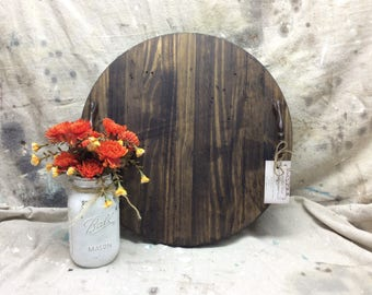 Round Wooden Tray, distressed, dark stain, 17 1/2 inch diameter, rustic, farmhouse, hostess gift, coffee table tray, serving tray,