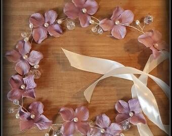 Flower crown/ hair wreath / bridesmaid hair accessory / flower girl halo / bridal hairpiece / wedding hair /boho bride / hair vine