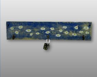 Hand Painted Daisy Blue Wall Coat Rack