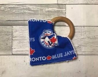 Modern Teething Ring, Baby teething ring, Modern baby, 100% Organic Ready to ship, Toronto Blue Jays, baseball