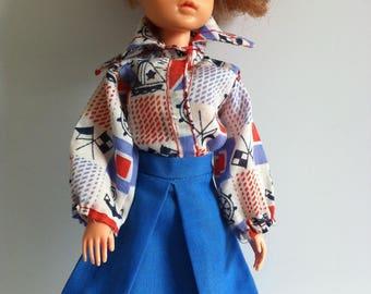Vintage 1970's Sindy clothes, blouse, blue skirt, blue sandals.