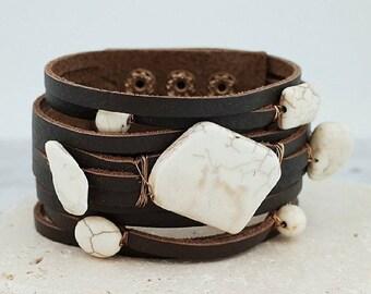 Multi strand leather cuff bracelet with semi-precious stone
