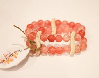 Double strand pink beaded bracelet