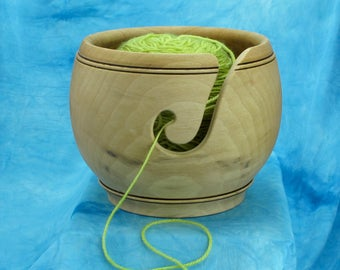 Wooden Yarn Bowl - Sycamore - Rustic look #804 Knitting or Crochet Bowl