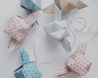 Led light string origami pastels-Origami Garland