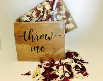 Flower petal confetti - burgundy red & off white petals - biodegradable - calligraphy 'throw me' kraft packet - vintage weddings