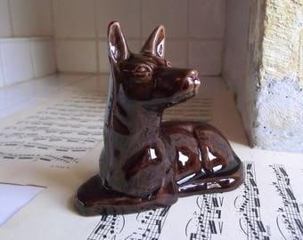 French Art Deco glazed ceramic German Shepherd figurine or statue.