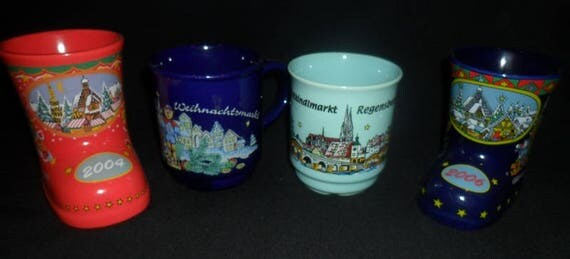 4 German Christmas Mulled Wine Mugs~Christmas Boot Mugs~Nürnberg Christmas Market Mugs~German Christmas Gift~German Souvenir~Mulled Wine Mug