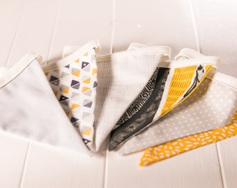Handmade Grey and Mustard Bunting.  Grey theme celebration decoration or the perfect gift to style any room.