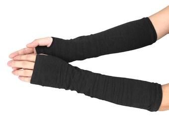 Arm Hand Warmer Knitted Long Fingerless Gloves Mitten Black